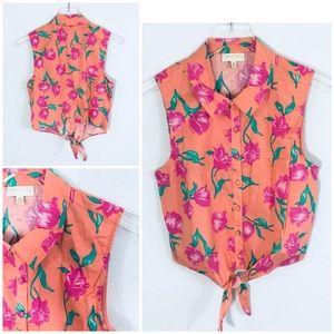 NWOT ModCloth Floral Sleeveless Tie Waist Top. M